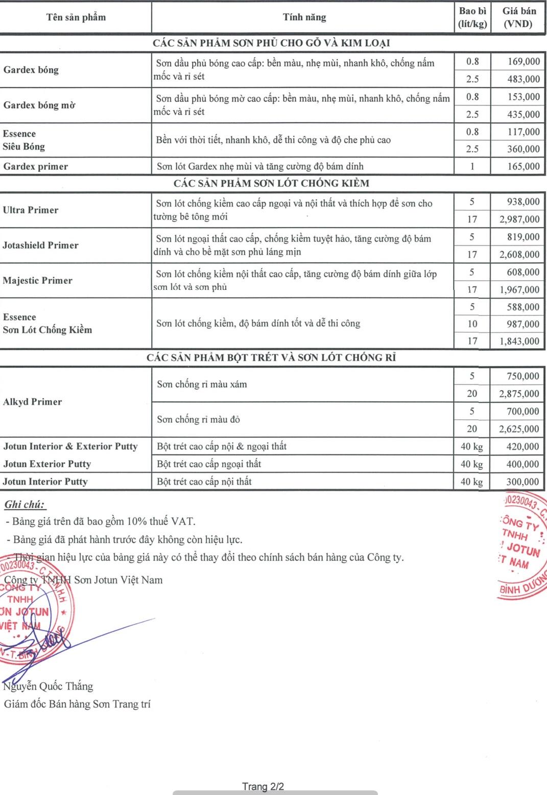 Bảng giá sơn jotun áp dụng từ 22/08/2018