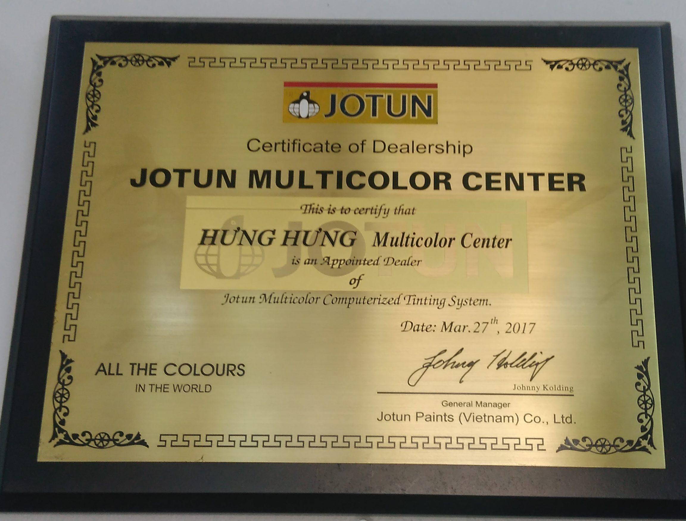 Chứng nhận sơn Jotun chính hãng