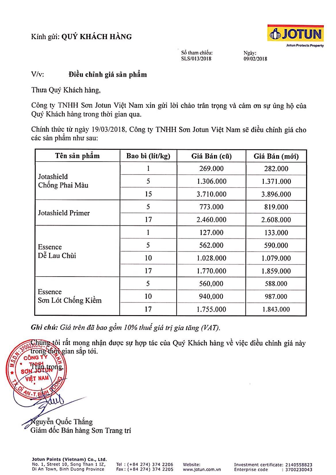 Thông báo tăng giá tháng 03/2018