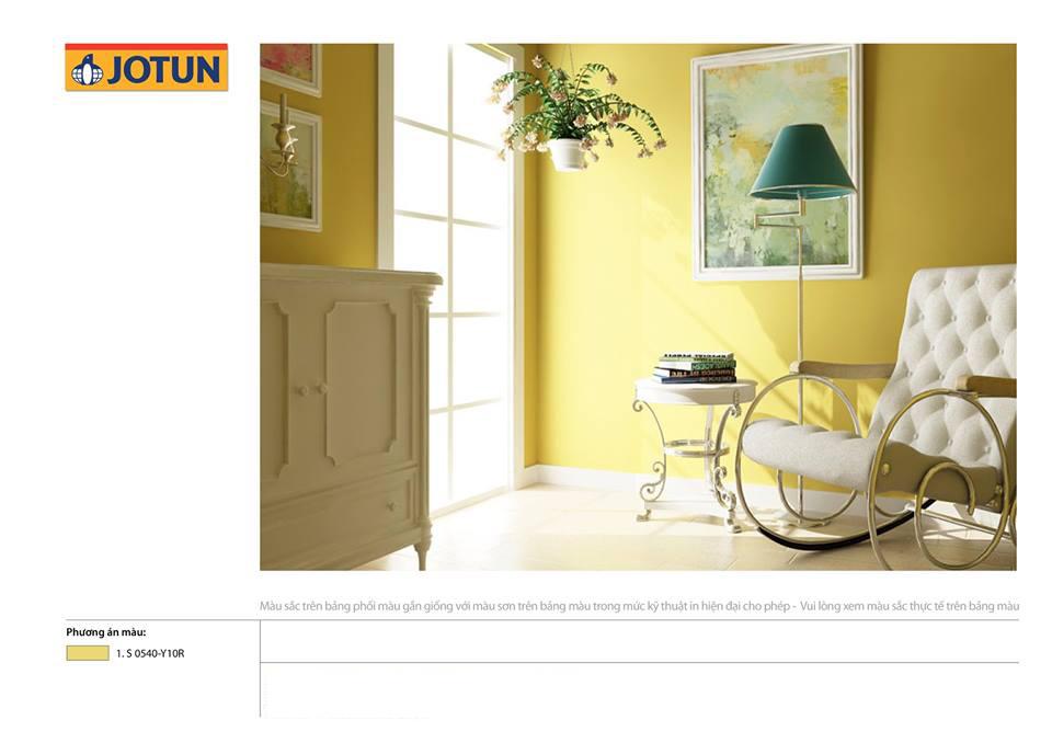 Phối cảnh nội thất sơn Jotun màu vàng